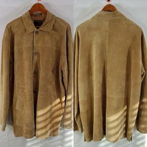 Brandon Thomas Button Down Brown Leather Jacket